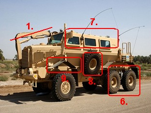 Le Buffalo MPCV EOD (Mine protected clearance vehicle) identification points  how identify comment identifier