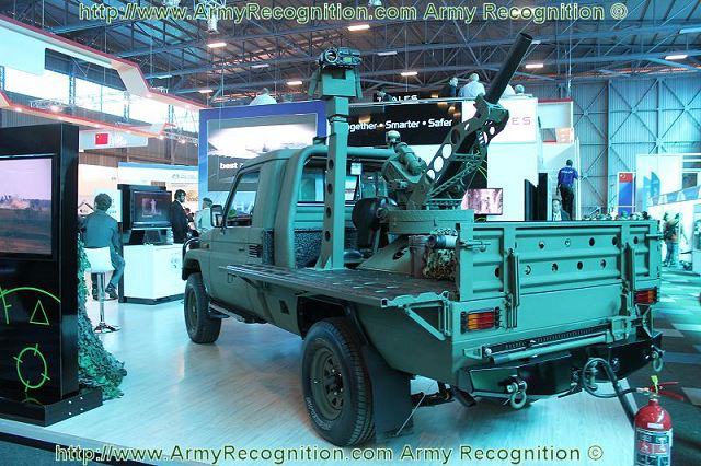 At AAD 2012, the Thales Scorpion automated mortar weapons platform is mounted on the chassis of a light tactical vehicle Toyota Land Cruiser 4x4 pickup chassis.