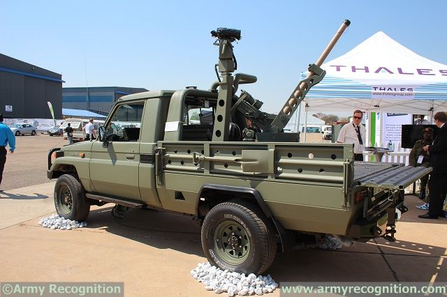 At AAD 2014, Thales South Africa showcases its automated mortar weapons platform Scorpion mounted on a light tactical vehicle Toyota Land Cruiser 4x4 pickup chassis. The system is fully designed and developped by Thales South Africa for the African Market.