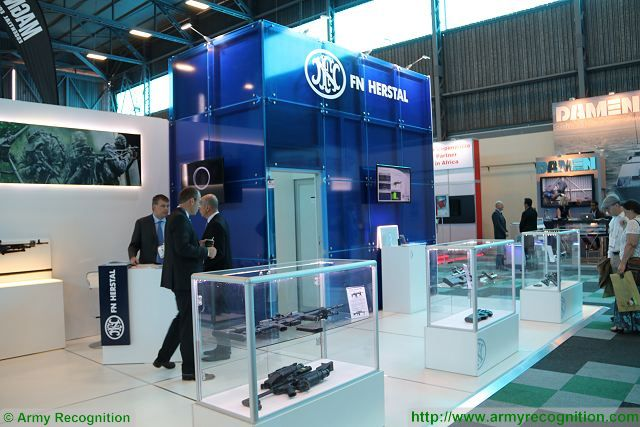 Belgian small arms manufacturer FN Herstal presents its full range of military and security products at AAD 2016, the Africa Aerospace and Defence Exhibition which takes near Pretoria, South Africa. At the booth of FN Herstal, trade visitors have the opportunity to see latest generation of assault rifles, machine guns, grenade launcher and pistols designed and manufactured by FN Herstal.