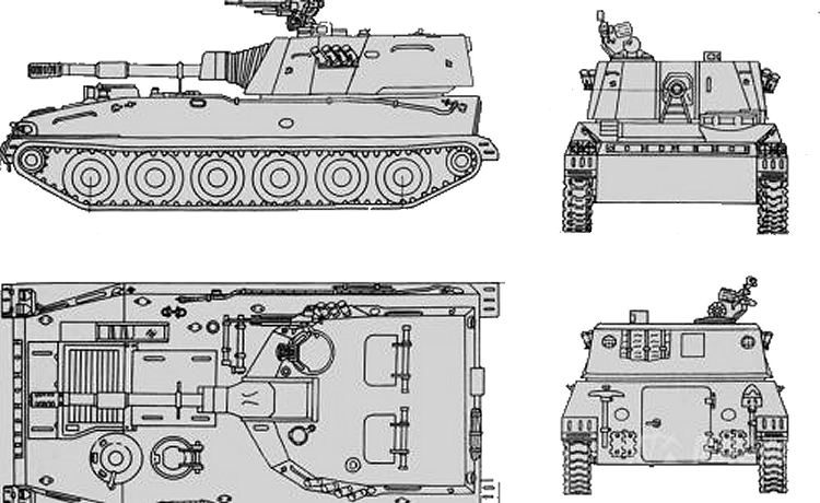 PLZ89 Type 89 122mm tracked self propelled howitzer China Chinese army defense industry line drawing blueprint 001