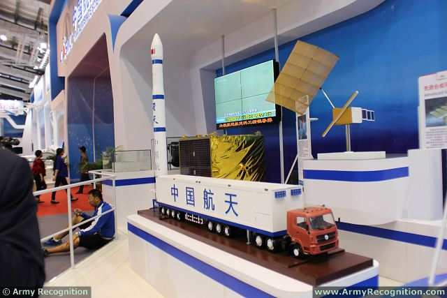The China Aerospace Science and Industry Corp. (CASIC) unveils its new FT-1 solid launch vehicle for small satellite at AirShow China 2014. A civilian long-chassis truck is used to transport a 20-meter-long rocket, which can be erected into vertical position at the rear of the vehicle.