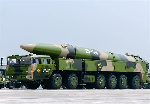 DF-26 intermediate-range ballistic missile China Chinese army PLA military equipment defense industry 640 002