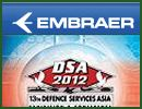 Embraer Defense and Security will attend the 13th Defense Services Asia (DSA) Exhibition and Conference which takes place from 16 – 19 April 2012 at the Putra World Trade Center in Kuala Lumpur, Malaysia.
