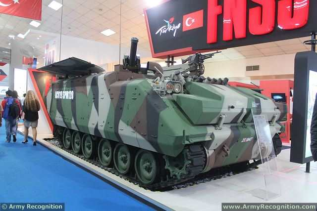 At DSA 2014, defense exhibition in Malaysia, the Turkish Company is showcased its ACV-19 in mortar carrier variant, armed with a 120mm mortar mounted at the rear of the hull and inside the vehicle. This vehicle is a member of the ACV-19 (Armored Combat Vehicles), a 15-19 ton class modern high performance vehicles derived from the highly successful FNSS ACV.
