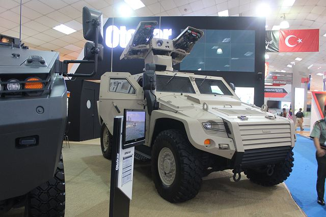 The Turkish Defense Company Otokar presents for the first time in new Cobra 2 4x4 armoured vehicle fitted with Aselsan multiple Igla-missile launcher turret. The Otokar Cobra 2 was unveiled for the first time in May 2013, during the defense exhibition in Istanbul, Turkey.
