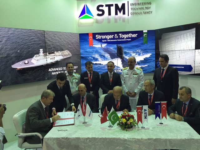 STM Aselsan and Havelsan hold the signature ceremony of Agosta-90B modernization at IDEAS 2016 001