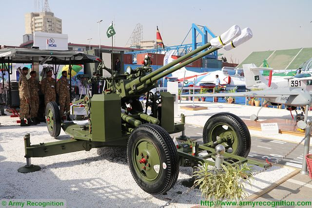 37mm twin-barreled anti-aircraft gun Pakistani army IDEAS 2016 Karachi Pakistan 640 001