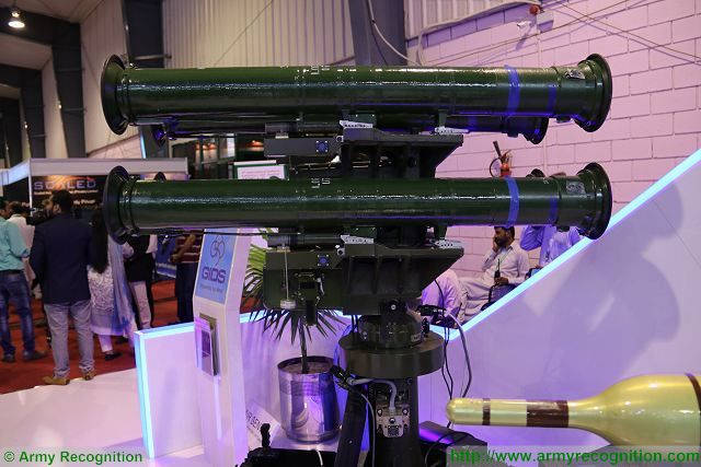 The Pakistani Company Global Industrial & Defence Solutions (GIDS) presents multi-missile launcher station armed with four Baktar Shikan anti-tank guide missiles. GIDS is Pakistan leading public sector corporate company dealing in export of military, industrial, technological products/ systems and services.