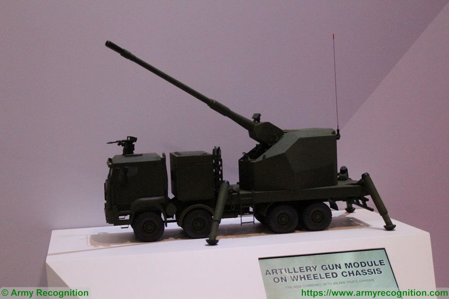 New KMW 155m artillery gun module mounted on truck chassis at Singapore AirShow 2018 925 002