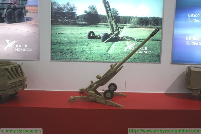 Chinese defense Company NORINCO presents its new lightweight gun-howitzer AH4 as counter part of the American-made BAE Systems M777 at the Defense and Security 2015, international exhibition in Bangkok, Thailand. This new gun system is able to fire all NATO 155mm and precision guided projectiles.
