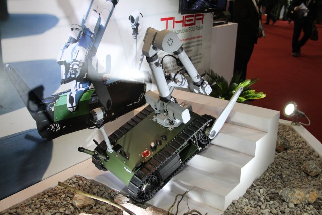 Thailand leading companies AVIA Group is exhibiting its new EOD robot THER at Defense and Security 640 001