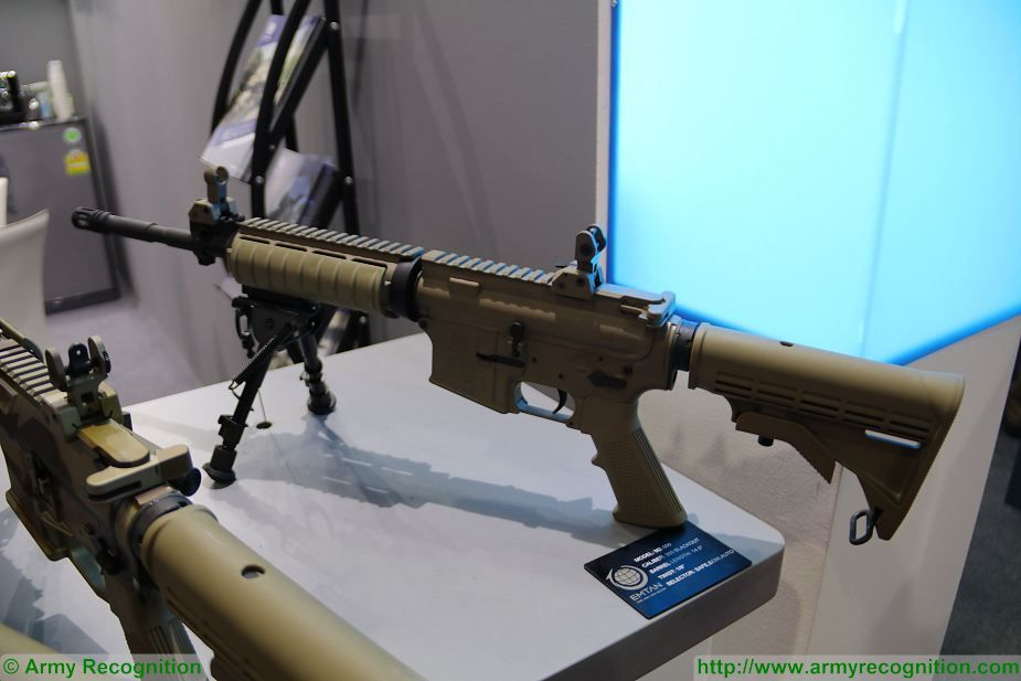 Emtan Karmiel from Israel launches assault rifle MZ 300 at Defense and Security Thailand 2017 in Bangkok 925 001