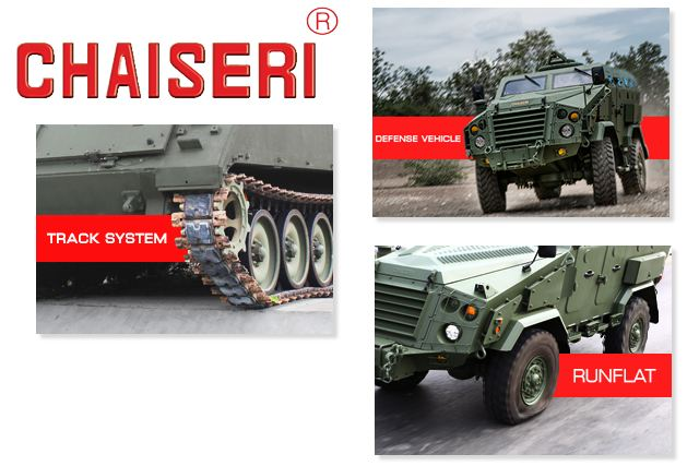 Chaiseri armoured vehicle road wheel track shoe idler sprocket system runflat Thai Thailand defense industry 640 001