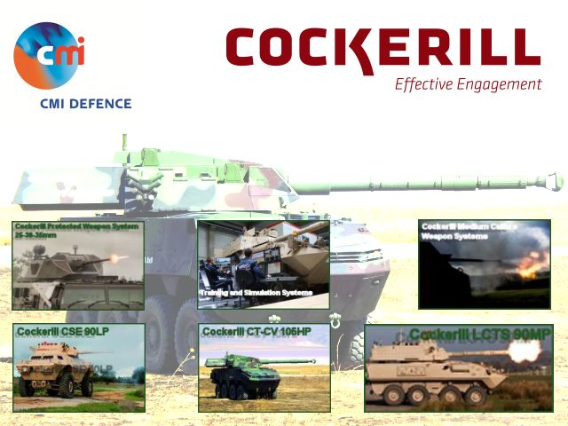 CMI Defence Cockerill company weapon system turret armoured armored vehicle 30 90 105 120 mm design development production manufacturer Belgium Belgian industry