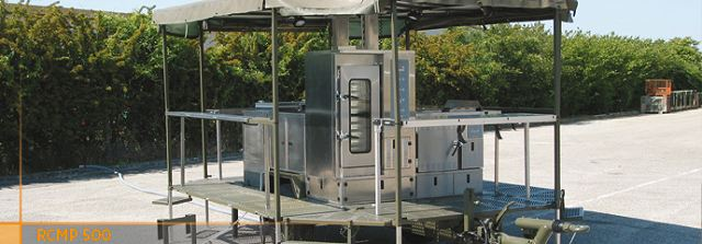"The modular kitchen trailer on platform RCMP 500 is designed to cater 250 to 500 people in the field. This unit includes six ""new generation"" stainless steel modules (several combinations on demand) installed onto an off road trailer which can be towed by tactical prime mover and air lifted."