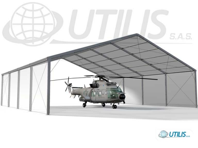 The Utilis military hangar is is suitable for extreme hot and cold climates and accepts extreme winds and snow loading, making it suitable for use within any global theatre of operation. It is primarily designed for the dehumidified-air storage of aircrafts in order to protect them from extreme weather conditions (humidity, temperature, dust, sand, etc…) and from certain environmental and climatic conditions.