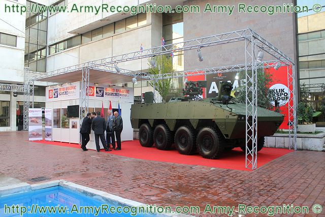 At the Albanian Military Exhibition ALMEX 2011, the Croatian Defence Company Duro Dakovik presents the wheeled armored vehicle personnel carrier Patria AMV. The Company is in charge to manufacture the vehicles order by the Croatian ministry of defense under a joint contract with the Finnish Company Patria.