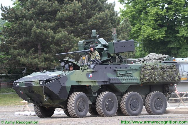 At IDET 2015, the International Exhibition of Defence and Security Technologies, Czech and Slovak armed forces presents a full range of combat vehicles during a live demonstration on Arena track test area.