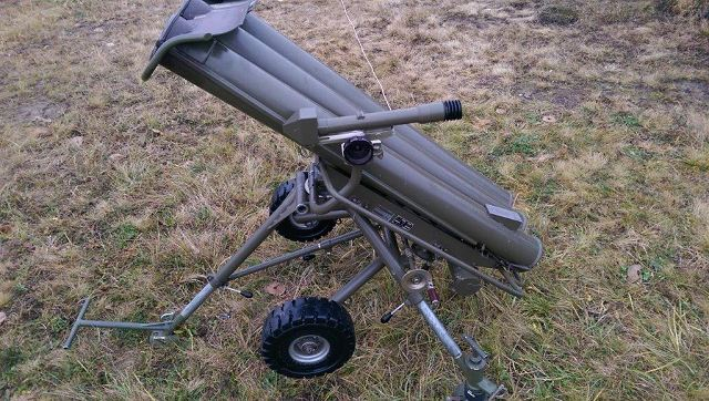 Czech Company STV manufactures anti-tank mine laying system using unguided 122mm rockets fire from containers mounted on two-wheeled carriage. The 122mm rocket is used to lay mine fields through scattering antitank mines during flight within a range from 500 m up to 3,000 m from the MV- 3 launcher site.