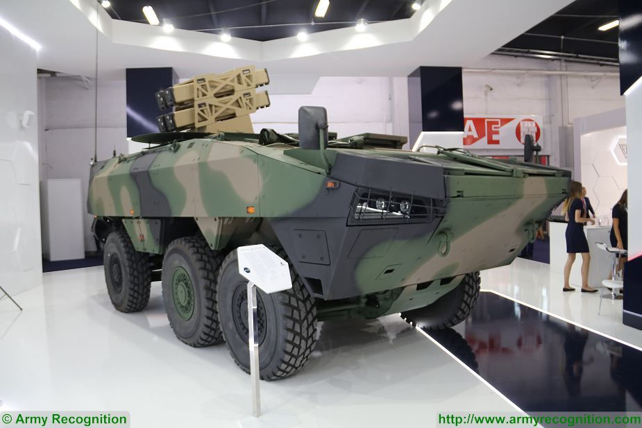 6x6 tank destroyer Rosomak Spike NLOS missile MSPO 2017 defense exhibition Kielce Poland 925 001
