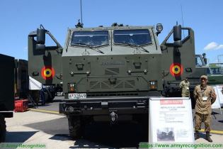 LAROM 160mm MLRS Multipl Launch Rocket System on 6x6 truck chassis Romania army front view 002