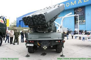 LAROM 160mm MLRS Multipl Launch Rocket System on 6x6 truck chassis Romania army rear view 002