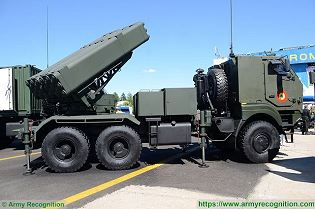 LAROM 160mm MLRS Multipl Launch Rocket System on 6x6 truck chassis Romania army right side view 002