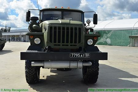 BM 21 multiple rocket launcher system Ural Truck 375D 6x6 Russia Russian army front view 450 001