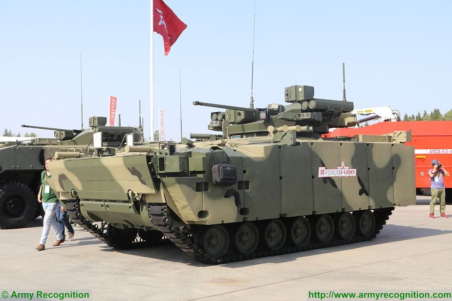 Russia presents the latest version of its new Kurganets-25 BMP IFV Infantry Fighting Vehicle at Army-2017, the International Military Technical Forum. he Kurganets is a new platform designed and developed by the Russian Defense Company Kurgan Machine-Building Plant to create a new family of light tracked armoured vehicle.