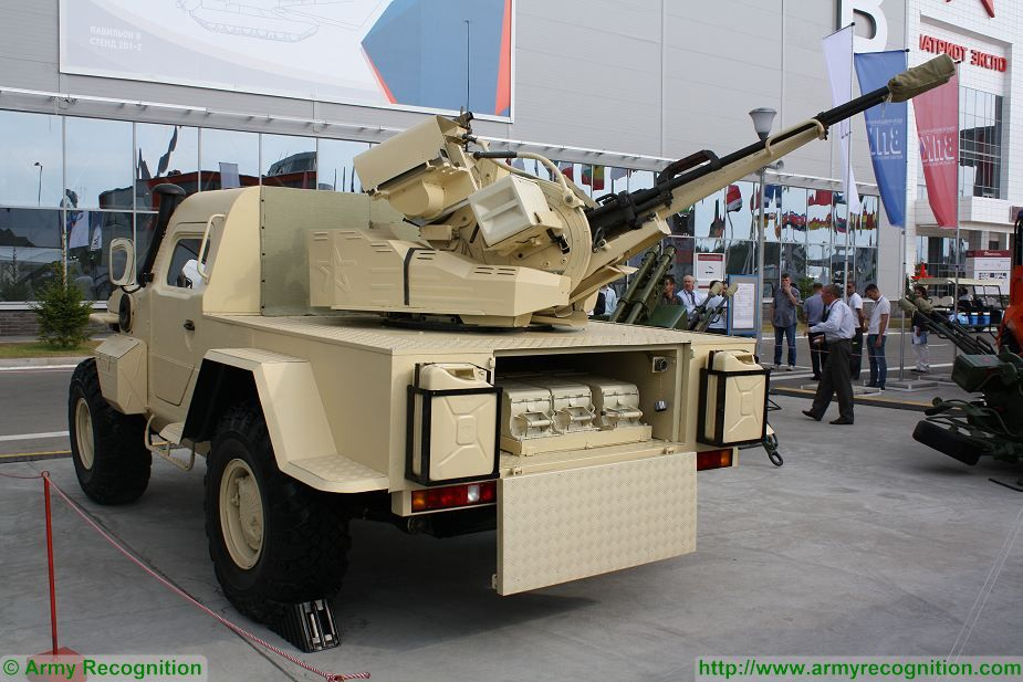 "At Army-2017, the International Military Technical Forum, the Russian defense Company Podolsky Electrical and Mechanical Plant Special mechanical engineering present a new project of light wheeled short-range air defense vehicle under the name of Samum, in English ""Sandstorm""."