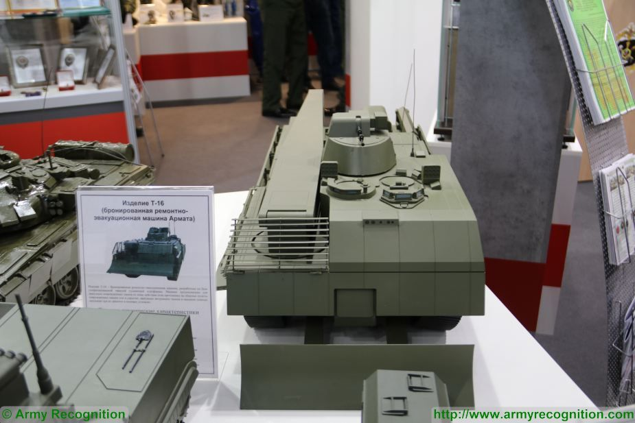 At Army-2017, the International Military Technical Forum, the Russian Ministry of Defense unveils on its booth, a scale model of the T-16 Armata, the recovery tank based on the T-14 Armata main battle tank (MBT).