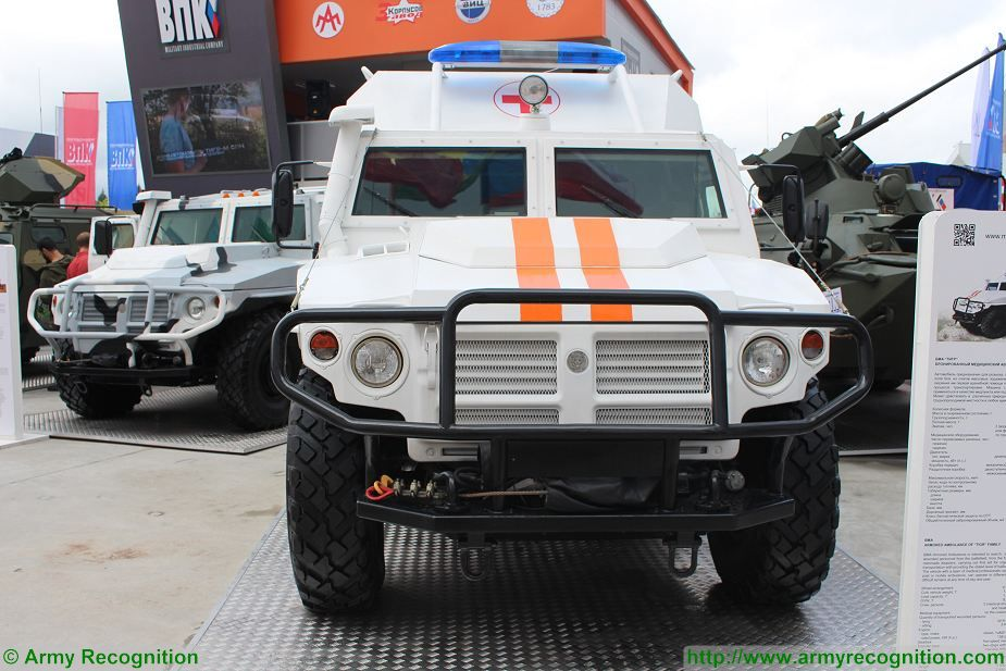 The Military Industrial Company (VPK Company) has created a medical version of the Tiger-M 4x4 armored combat vehicle capable of protecting the crew against 7.62 mm bullets, said Alexander Krasovitsky, the company director general, at the International Military Technical Forum, Army-2017 forum which takes place in the Patriotic Park, near Moscow, Russia.