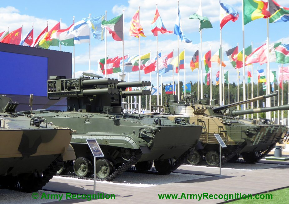Army 2019 Nudelman displays Sosna missile air defense system on BMP 3 chassis