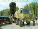 This the laste version of the multiple rocket launcher system Smerch 300 mm 9A52-2T mounted to a Tatra truck. The MRLS vehicle 9A52-2 is intented for firing with rocket peojectiles and for destruction of attacking means, tanks, motorized and infantry units in concentration areas, on march and in combat order, of artillery battalions in concentration areas, of helicopter units at landing fields, anti-aircraft and anti-missile units on the positions, air and naval assault units and other targets. This new version of Smerch is manufactured as a modernized model on Tatra ruck chassis. Up-dating of BM-9A52-2 via introduction of combat control communication equipment and automated guidance and fire control system. The maximum range of fire is 90 km, the time firing preparation from the moment of fire-mission settings reception to engagement is 2 minutes.