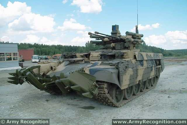 The latest generation of Russian-made armoured infantry fighting vehicle BMPT.