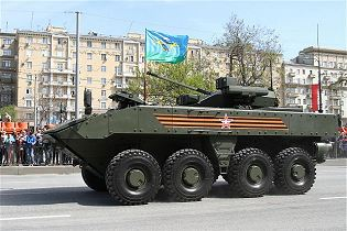 Boomerang BTR wheeled 8x8 armoured vehicle personnel carrier Russia Russian defence industry left side view 003