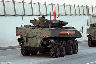 Boomerang BTR wheeled 8x8 armoured vehicle personnel carrier Russia Russian defence industry rear side view 003