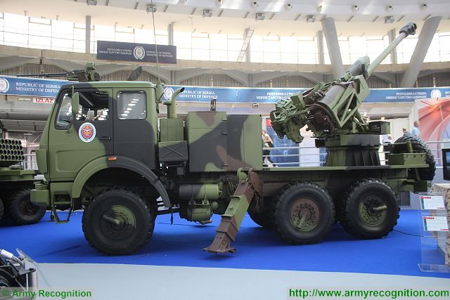 SORA 122mm 6x6 self-propelled howitzer Partner 2015 defense exhibition Belgrade Serbia 640 002