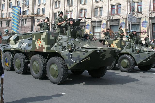 BTR-3M2 120mm mortar carrier at military parade in Kiev, Ukraine