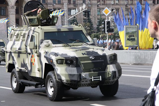 Ukrainian army KRAZ Cougar 4x4 APC at military parade for Independence Day 2014.