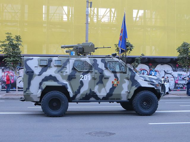Ukrainian army KRAZ Spartan 4x4 APC at military parade for Independence Day 2014.