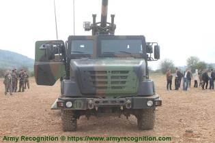 6x6 self propelled howitzer CAESAR Nexter Systems 155mm wheeled artillery truck system France front view 001