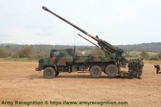 6x6 self propelled howitzer CAESAR Nexter Systems 155mm wheeled artillery truck system France left side view 001