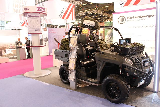 Austrian Company Hirtenberger unveils FAMOS 81mm FAst MOrtar Support on all-terrain vehicle Eurosatory 2016 640 001
