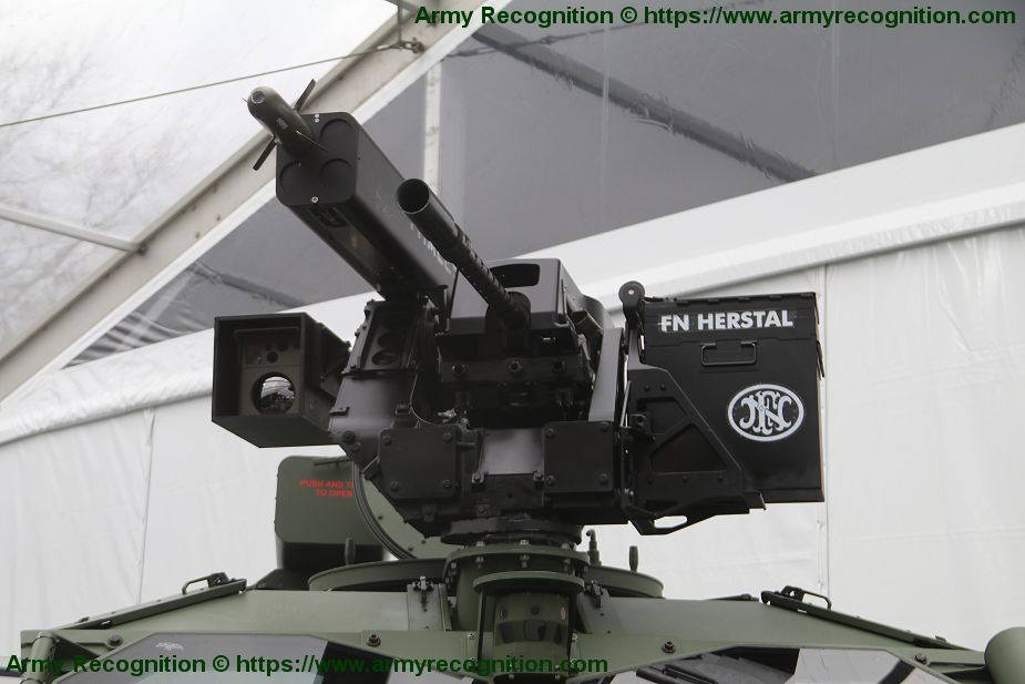 Thales 68mm ground to ground induction rocket system pod mounted on Hawkei 4x4 protected vehicle 925 001