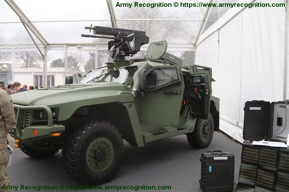 Thales 68mm ground to ground induction rocket system pod mounted on Hawkei 4x4 protected vehicle 925 002