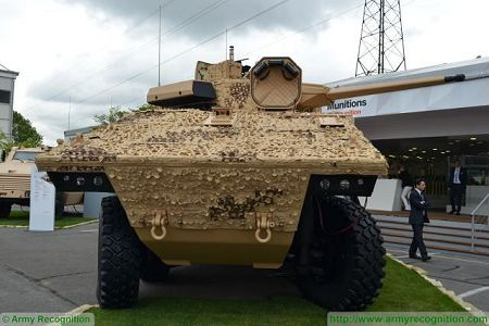 VBCI 2 8x8 wheeled armoured infantry fighting vehicle CTA40 Nexter Systems France French defense industry front view 001