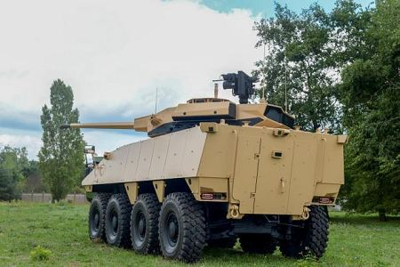 VBCI 2 8x8 wheeled armoured infantry fighting vehicle CTA40 Nexter Systems France French defense industry rear view 001