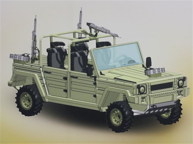 At IAV 2013, the German Company UNIQUECO in collaboration with Rheinmetall Chempro unveils the new light Special Operations vehicle LIZAR based on the civilian platform TECDRAH produced by the German Company Travec Automotive.